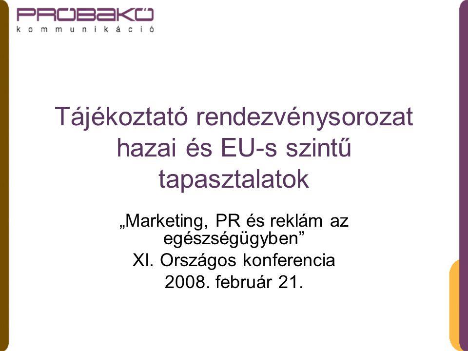 """Tájékoztató rendezvénysorozat hazai és EU-s szintű tapasztalatok """"Marketing, PR és reklám az egészségügyben XI."""