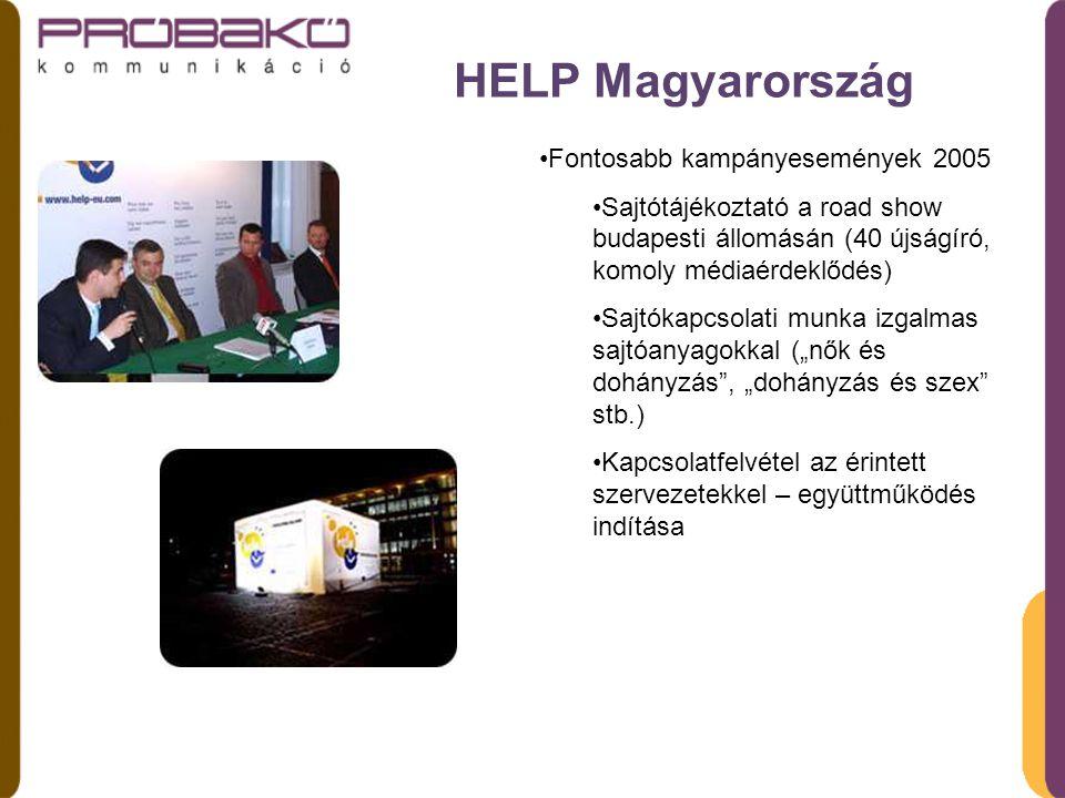 """HELP Magyarország Fontosabb kampányesemények 2005 Sajtótájékoztató a road show budapesti állomásán (40 újságíró, komoly médiaérdeklődés) Sajtókapcsolati munka izgalmas sajtóanyagokkal (""""nők és dohányzás , """"dohányzás és szex stb.) Kapcsolatfelvétel az érintett szervezetekkel – együttműködés indítása"""