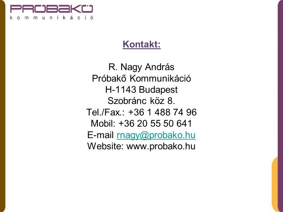 Kontakt: R. Nagy András Próbakő Kommunikáció H-1143 Budapest Szobránc köz 8.