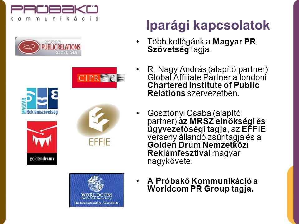 Iparági kapcsolatok Több kollégánk a Magyar PR Szövetség tagja.