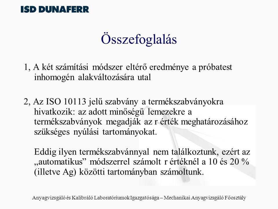 Anyagvizsgáló és Kalibráló Laboratóriumok Igazgatósága – Mechanikai Anyagvizsgáló Főosztály Összefoglalás 1, A két számítási módszer eltérő eredménye a próbatest inhomogén alakváltozására utal 2, Az ISO 10113 jelű szabvány a termékszabványokra hivatkozik: az adott minőségű lemezekre a termékszabványok megadják az r érték meghatározásához szükséges nyúlási tartományokat.