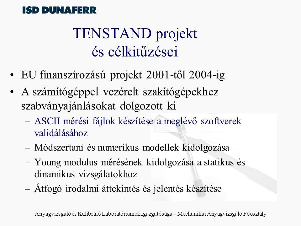 Anyagvizsgáló és Kalibráló Laboratóriumok Igazgatósága – Mechanikai Anyagvizsgáló Főosztály TENSTAND projekt és célkitűzései EU finanszírozású projekt 2001-től 2004-ig A számítógéppel vezérelt szakítógépekhez szabványajánlásokat dolgozott ki –ASCII mérési fájlok készítése a meglévő szoftverek validálásához –Módszertani és numerikus modellek kidolgozása –Young modulus mérésének kidolgozása a statikus és dinamikus vizsgálatokhoz –Átfogó irodalmi áttekintés és jelentés készítése