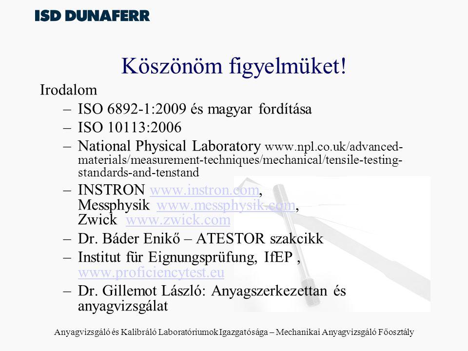 Anyagvizsgáló és Kalibráló Laboratóriumok Igazgatósága – Mechanikai Anyagvizsgáló Főosztály Köszönöm figyelmüket! Irodalom –ISO 6892-1:2009 és magyar