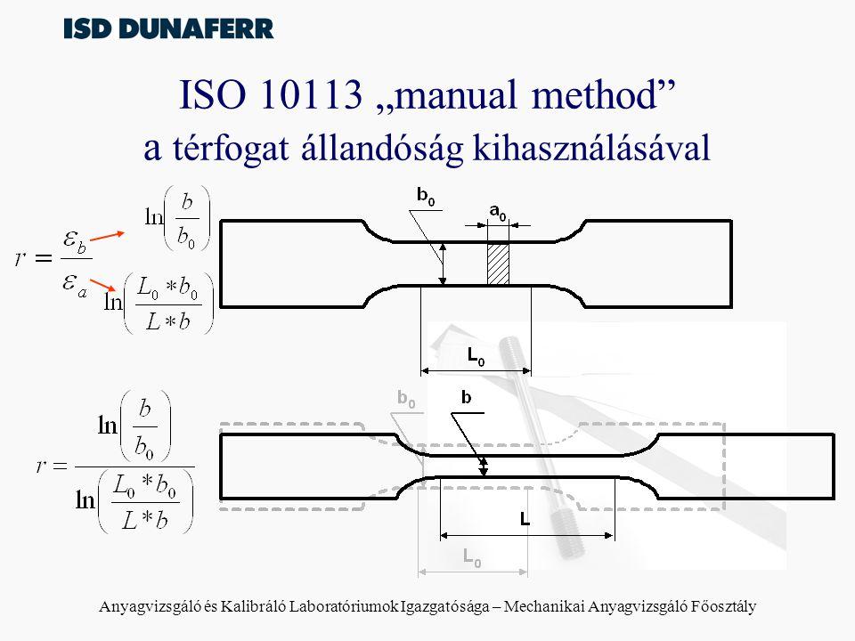 """Anyagvizsgáló és Kalibráló Laboratóriumok Igazgatósága – Mechanikai Anyagvizsgáló Főosztály ISO 10113 """"manual method"""" a térfogat állandóság kihasználá"""