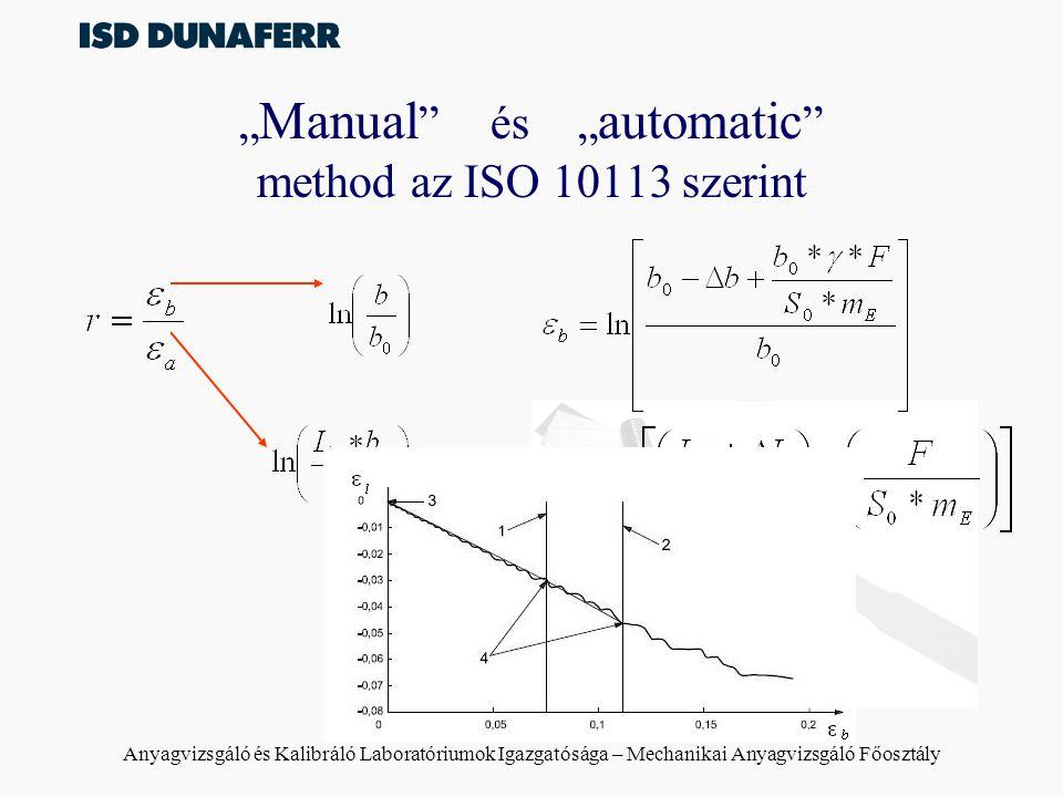 """Anyagvizsgáló és Kalibráló Laboratóriumok Igazgatósága – Mechanikai Anyagvizsgáló Főosztály Eltérés a két – matematikai – módszer között Manual method –egy pontban határozza meg a vizsgált anyag r értékét –homogén alakváltozást tételez fel a vizsgálati határok között –tankönyvekben ez a módszer szerepel Automatic method –az ISO 10113:2006 elsődleges módszerként írja elő –""""átlagértéket képez, így független(ebb) az inhomogén alakváltozásra"""