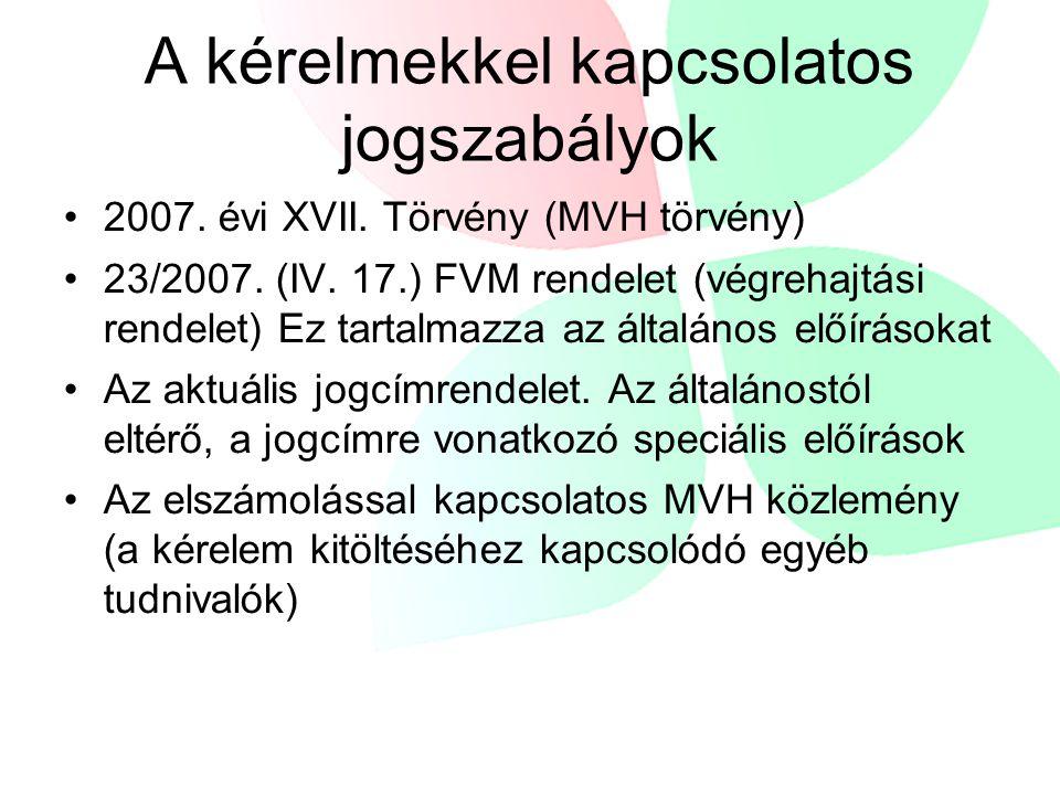 A kérelmekkel kapcsolatos jogszabályok 2007. évi XVII.