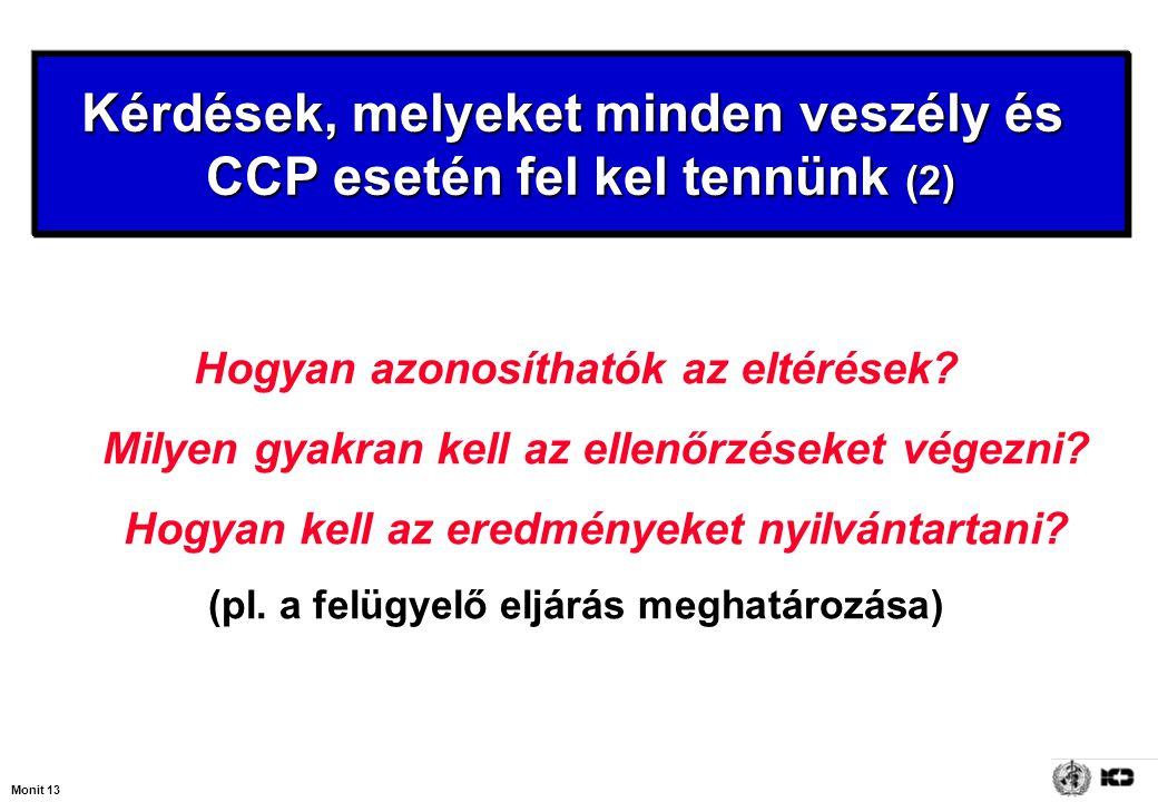 Monit 13 Kérdések, melyeket minden veszély és CCP esetén fel kel tennünk (2) Hogyan azonosíthatók az eltérések? Milyen gyakran kell az ellenőrzéseket
