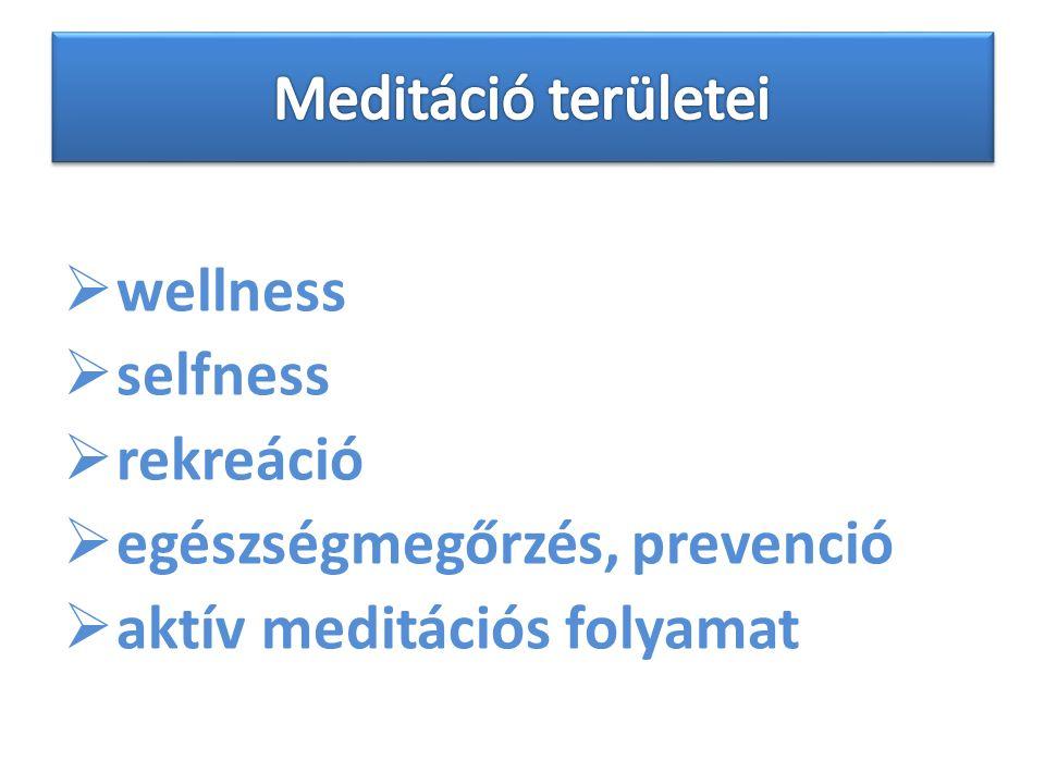  wellness  selfness  rekreáció  egészségmegőrzés, prevenció  aktív meditációs folyamat