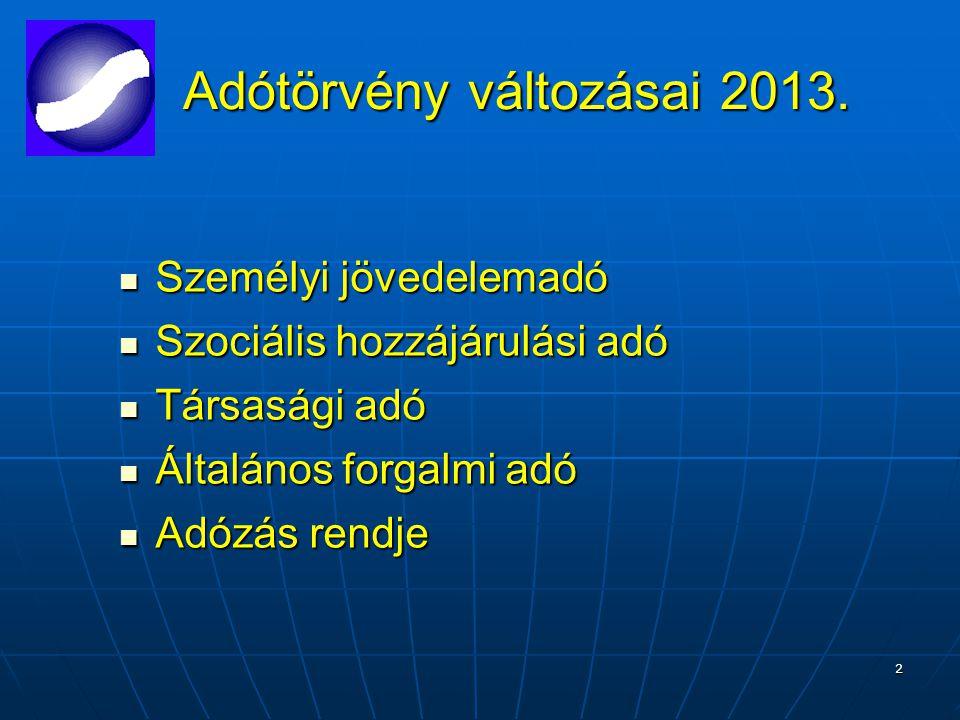 2 Adótörvény változásai 2013. Adótörvény változásai 2013.
