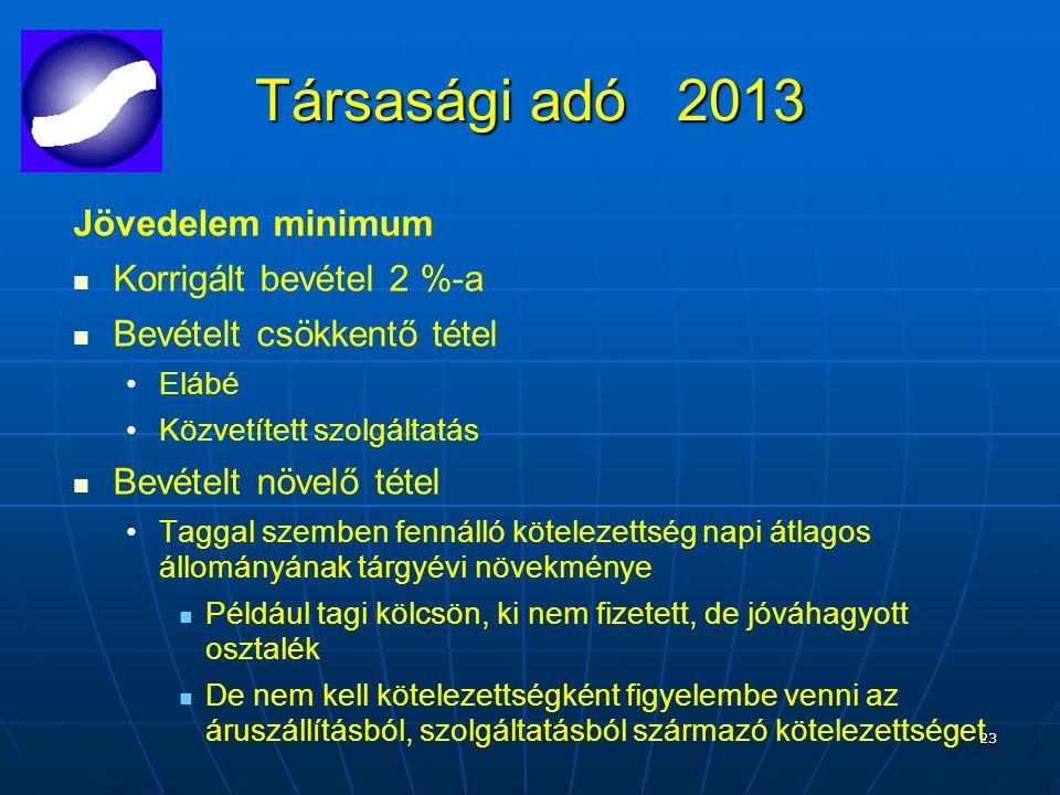 23 Társasági adó 2013 Jövedelem minimum Korrigált bevétel 2 %-a Bevételt csökkentő tétel Elábé Közvetített szolgáltatás Bevételt növelő tétel Taggal szemben fennálló kötelezettség napi átlagos állományának tárgyévi növekménye Például tagi kölcsön, ki nem fizetett, de jóváhagyott osztalék De nem kell kötelezettségként figyelembe venni az áruszállításból, szolgáltatásból származó kötelezettséget