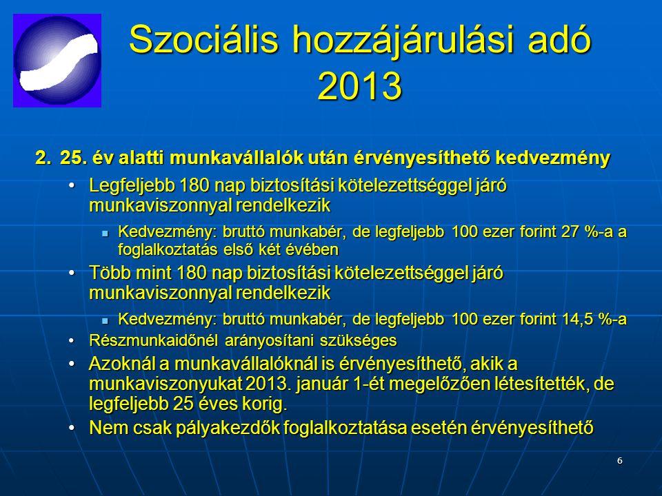 6 Szociális hozzájárulási adó 2013 2.25.