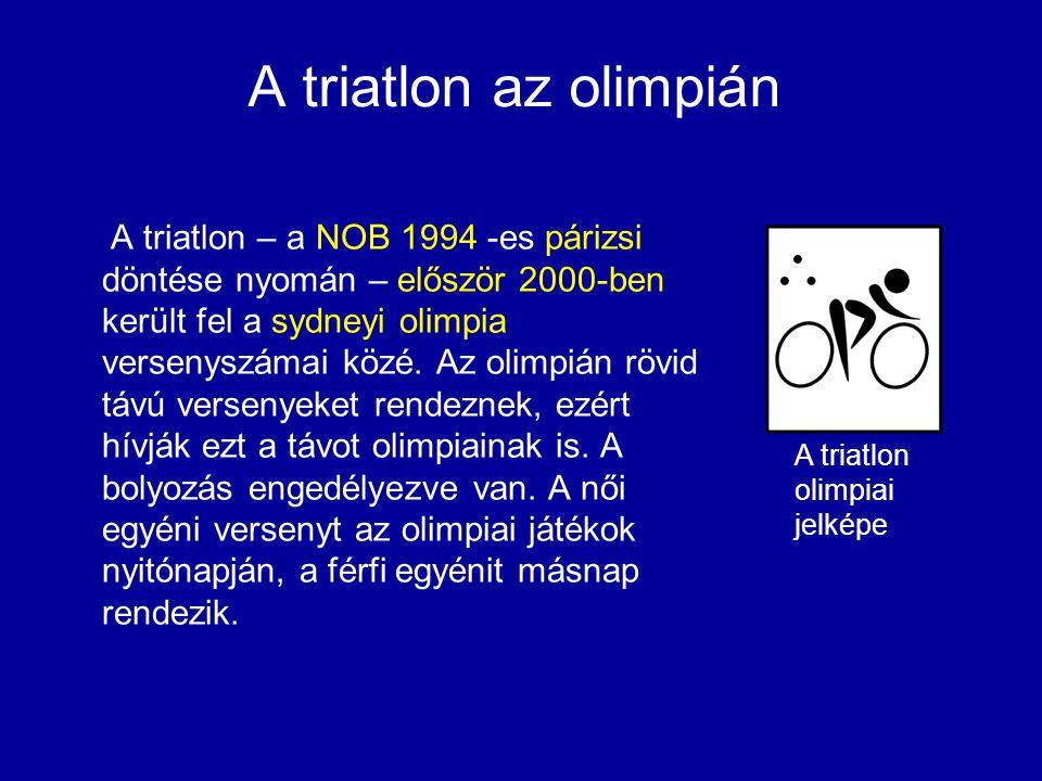 A triatlon az olimpián A triatlon – a NOB 1994 -es párizsi döntése nyomán – először 2000-ben került fel a sydneyi olimpia versenyszámai közé. Az olimp
