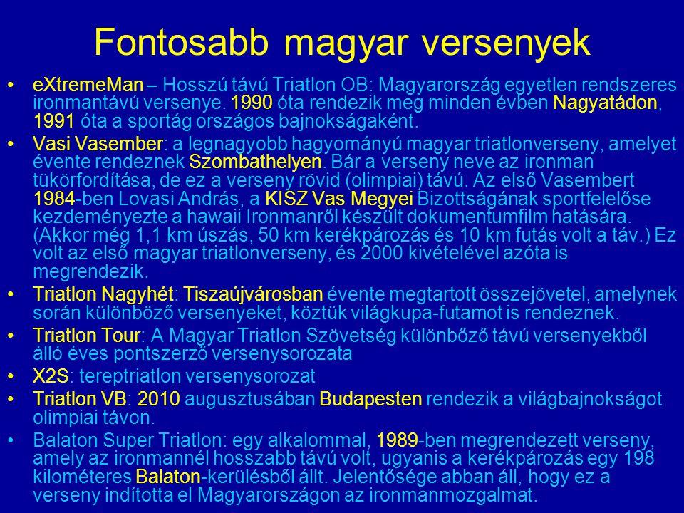Fontosabb magyar versenyek eXtremeMan – Hosszú távú Triatlon OB: Magyarország egyetlen rendszeres ironmantávú versenye. 1990 óta rendezik meg minden é
