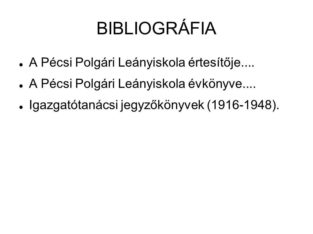 BIBLIOGRÁFIA A Pécsi Polgári Leányiskola értesítője....
