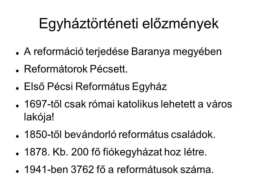 Egyháztörténeti előzmények A reformáció terjedése Baranya megyében Reformátorok Pécsett.