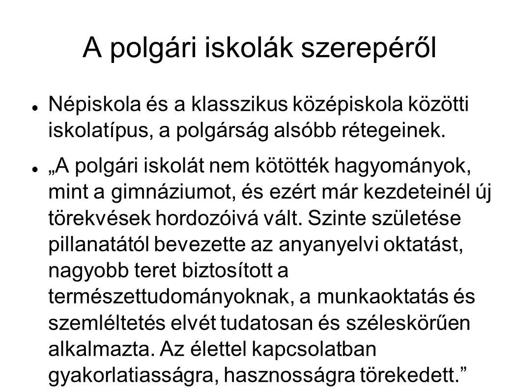 BIBLIOGRÁFIA Dobos László: Az egykori polgári iskola szerepe iskolarendszerünkben.