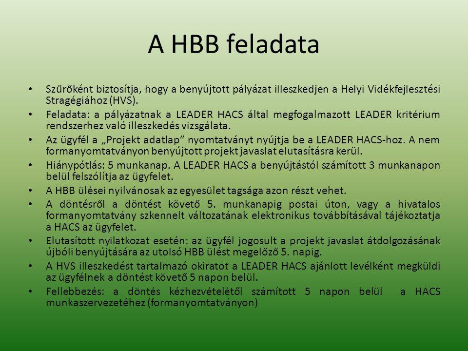 A HBB feladata Szűrőként biztosítja, hogy a benyújtott pályázat illeszkedjen a Helyi Vidékfejlesztési Stragégiához (HVS).