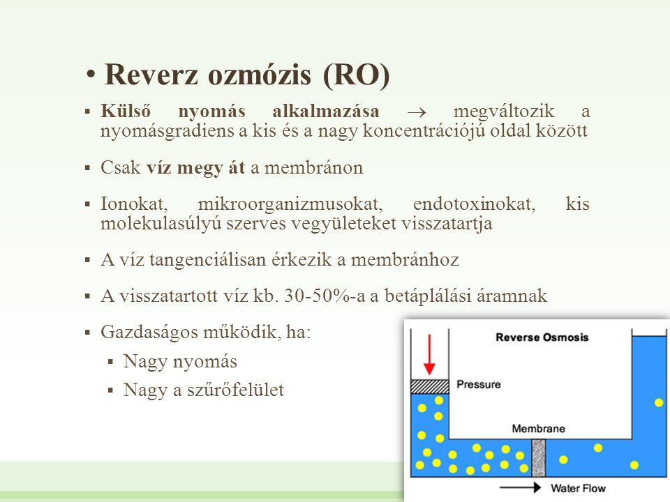 Reverz ozmózis (RO)  Külső nyomás alkalmazása  megváltozik a nyomásgradiens a kis és a nagy koncentrációjú oldal között  Csak víz megy át a membrán