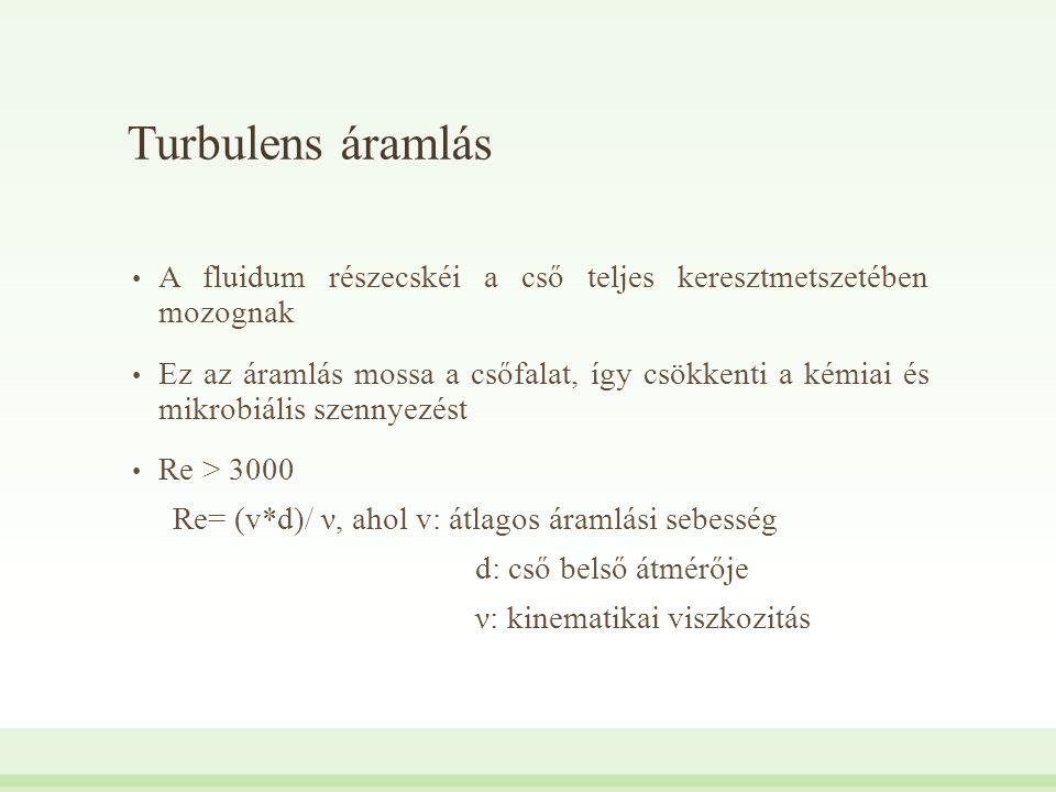 Turbulens áramlás A fluidum részecskéi a cső teljes keresztmetszetében mozognak Ez az áramlás mossa a csőfalat, így csökkenti a kémiai és mikrobiális