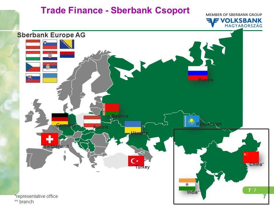 77 Trade Finance - Sberbank Csoport Russia Kazakhstan Ukraine Switzerland Belarus Turkey China* India** Austria Germany* Sberbank Europe AG 7 *represe