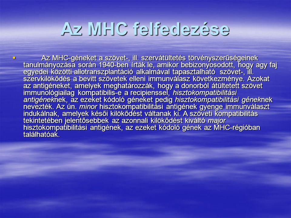  A klasszikus MHC-gének elrendeződése és a két régióban elhelyezkedő gének száma fajonként eltérő.