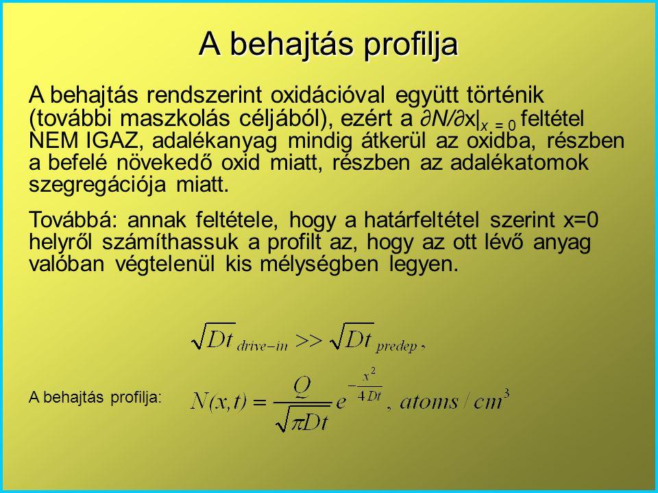A behajtás rendszerint oxidációval együtt történik (további maszkolás céljából), ezért a ∂N/∂x| x = 0 feltétel NEM IGAZ, adalékanyag mindig átkerül az