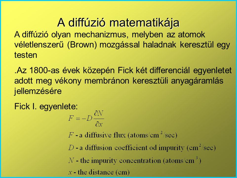 A diffúzió matematikája A diffúzió olyan mechanizmus, melyben az atomok véletlenszerű (Brown) mozgással haladnak keresztül egy testen.Az 1800-as évek