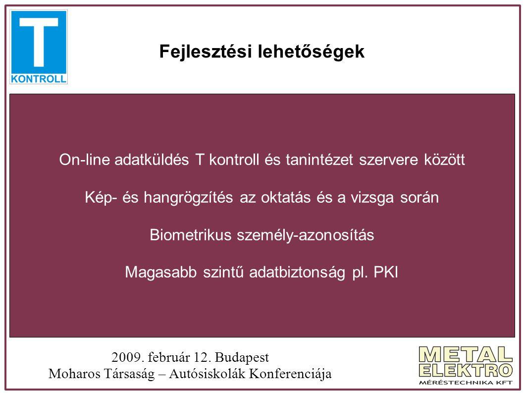 Fejlesztési lehetőségek 2009. február 12. Budapest Moharos Társaság – Autósiskolák Konferenciája On-line adatküldés T kontroll és tanintézet szervere