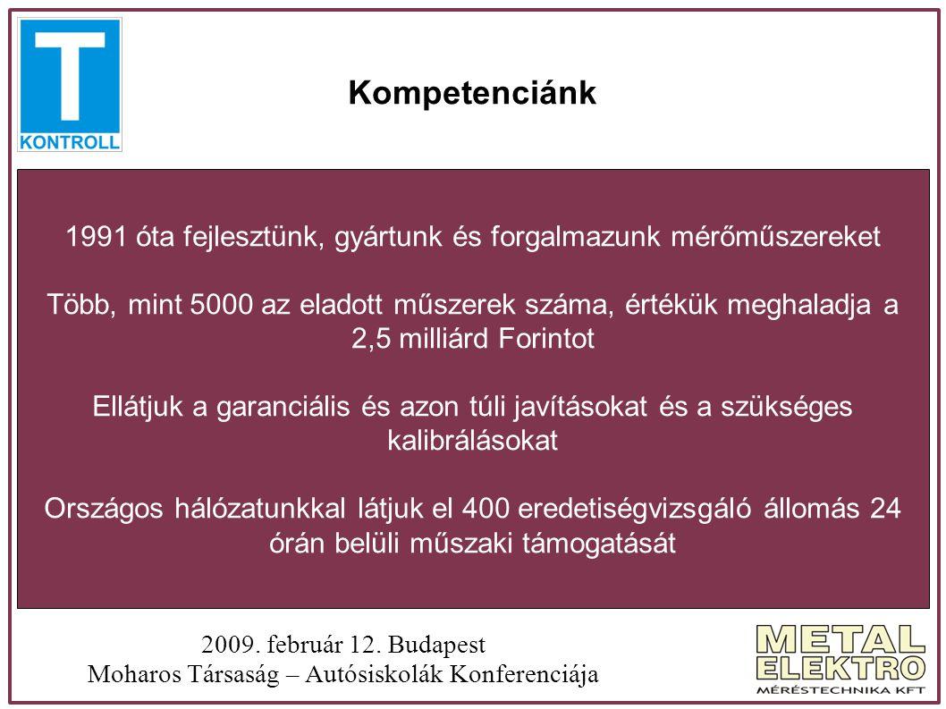 Kompetenciánk 2009. február 12. Budapest Moharos Társaság – Autósiskolák Konferenciája 1991 óta fejlesztünk, gyártunk és forgalmazunk mérőműszereket T