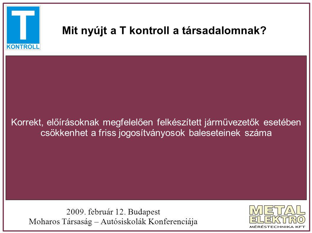 Mit nyújt a T kontroll a társadalomnak? 2009. február 12. Budapest Moharos Társaság – Autósiskolák Konferenciája Korrekt, előírásoknak megfelelően fel