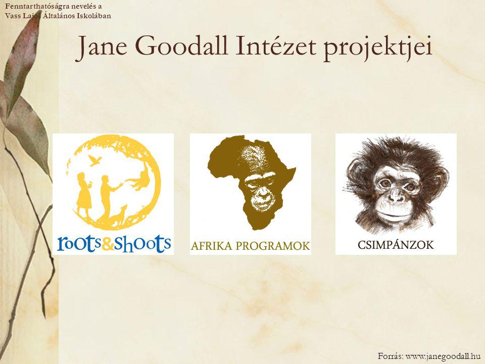 Jane Goodall Intézet projektjei Forrás: www.janegoodall.hu Fenntarthatóságra nevelés a Vass Lajos Általános Iskolában