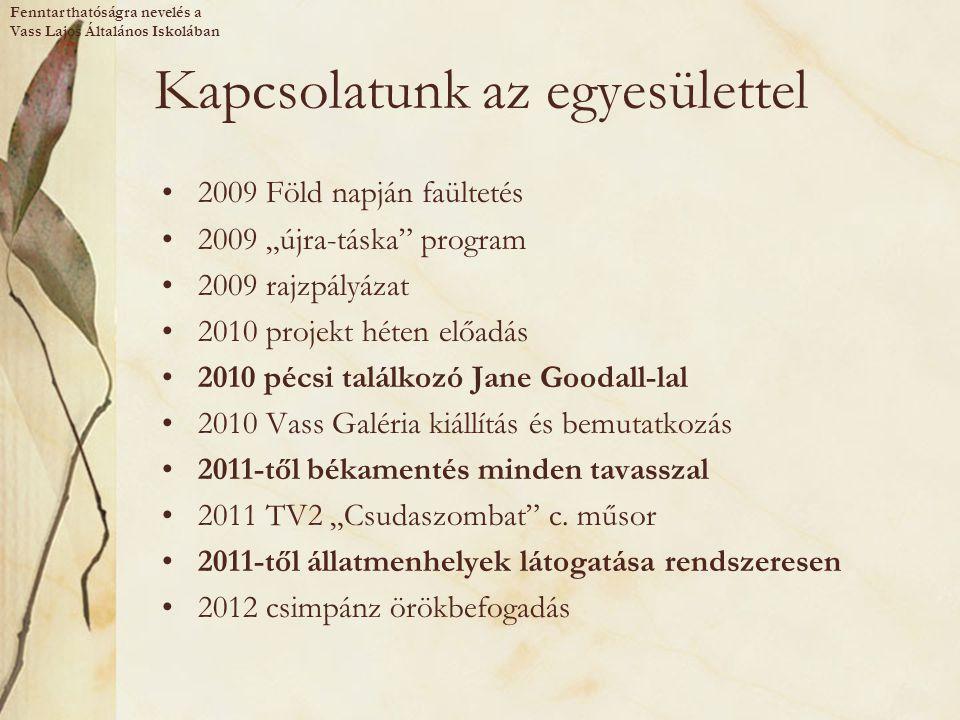 """Kapcsolatunk az egyesülettel 2009 Föld napján faültetés 2009 """"újra-táska"""" program 2009 rajzpályázat 2010 projekt héten előadás 2010 pécsi találkozó Ja"""
