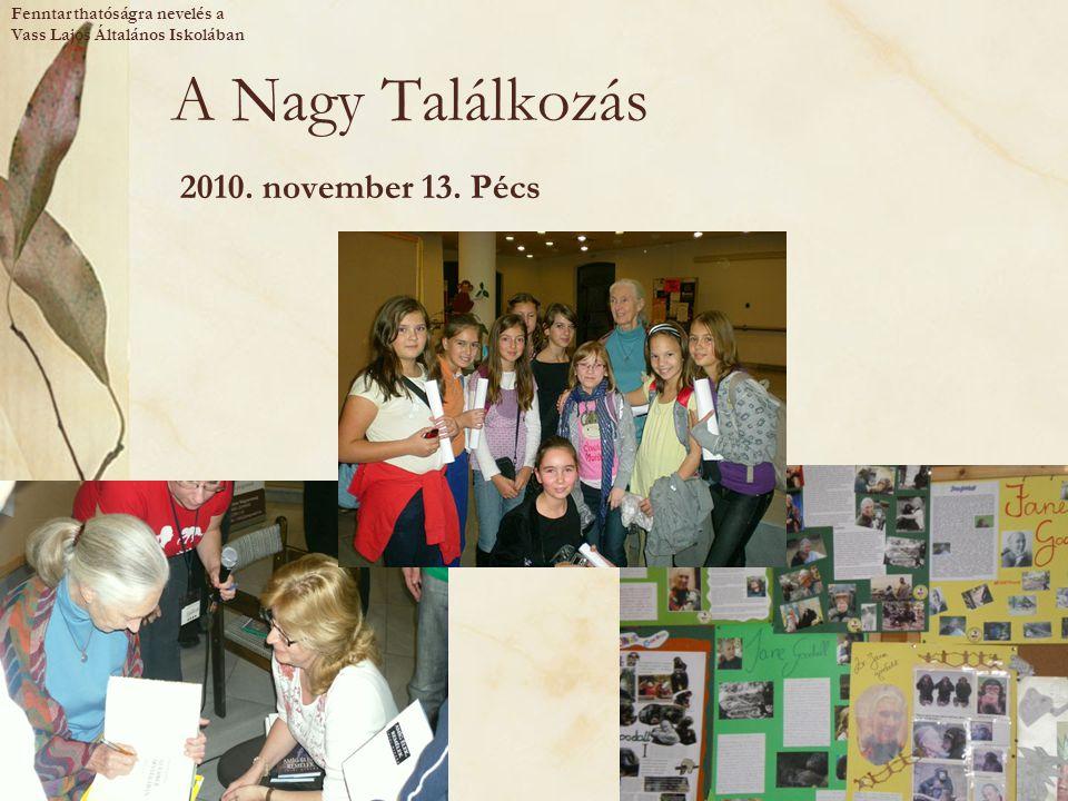 A Nagy Találkozás 2010. november 13. Pécs Fenntarthatóságra nevelés a Vass Lajos Általános Iskolában