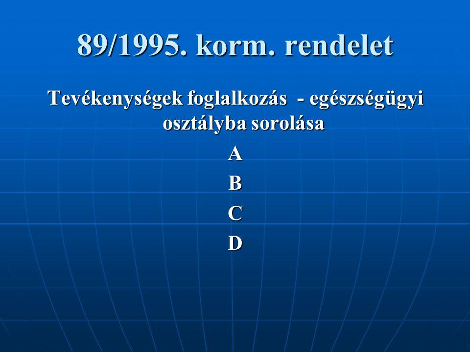 89/1995. korm. rendelet Tevékenységek foglalkozás - egészségügyi osztályba sorolása ABCD