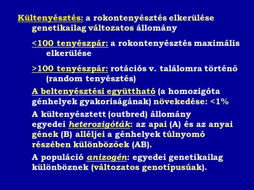 Kültenyésztés: a rokontenyésztés elkerülése genetikailag változatos állomány <100 tenyészpár: a rokontenyésztés maximális elkerülése >100 tenyészpár: rotációs v.