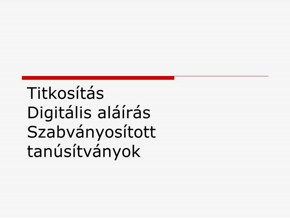 Titkosítás Digitális aláírás Szabványosított tanúsítványok