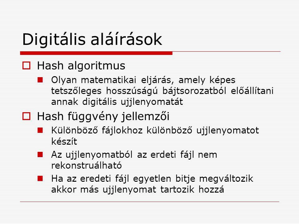 Digitális aláírások  Hash algoritmus Olyan matematikai eljárás, amely képes tetszőleges hosszúságú bájtsorozatból előállítani annak digitális ujjleny