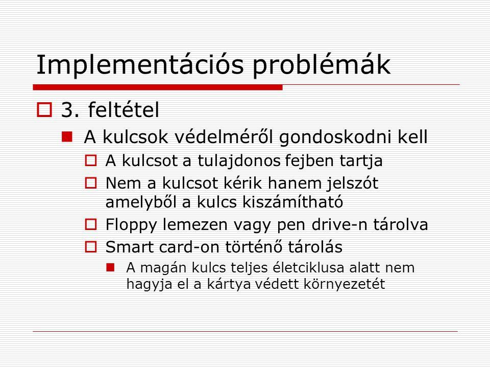 Implementációs problémák  3. feltétel A kulcsok védelméről gondoskodni kell  A kulcsot a tulajdonos fejben tartja  Nem a kulcsot kérik hanem jelszó