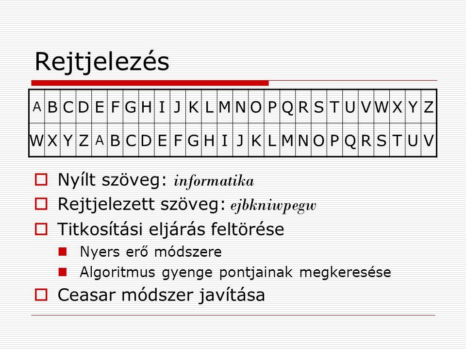 Rejtjelezés A BCDEFGHIJKLMNOPQRSTUVWXYZ WXYZ A BCDEFGHIJKLMNOPQRSTUV  Nyílt szöveg: informatika  Rejtjelezett szöveg: ejbkniwpegw  Titkosítási eljárás feltörése Nyers erő módszere Algoritmus gyenge pontjainak megkeresése  Ceasar módszer javítása