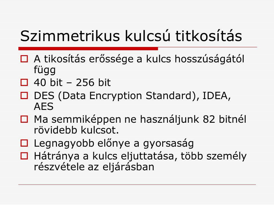 Szimmetrikus kulcsú titkosítás  A tikosítás erőssége a kulcs hosszúságától függ  40 bit – 256 bit  DES (Data Encryption Standard), IDEA, AES  Ma semmiképpen ne használjunk 82 bitnél rövidebb kulcsot.