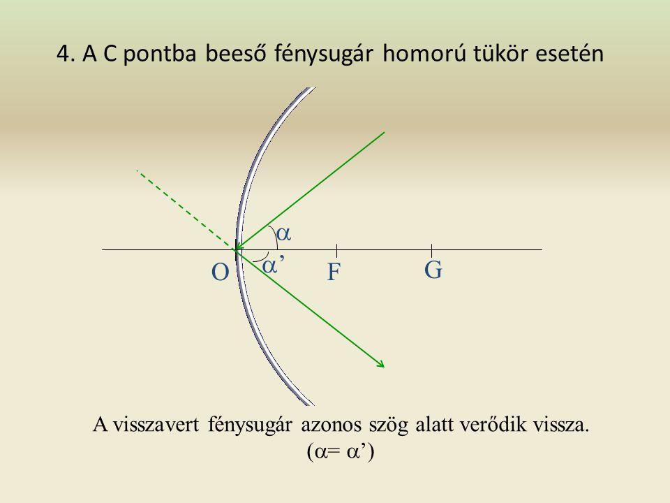 3. Az optikai középpont irányába beeső fénysugár homorú tükör esetén A visszavert fénysugár önmagába verődik vissza. OF G