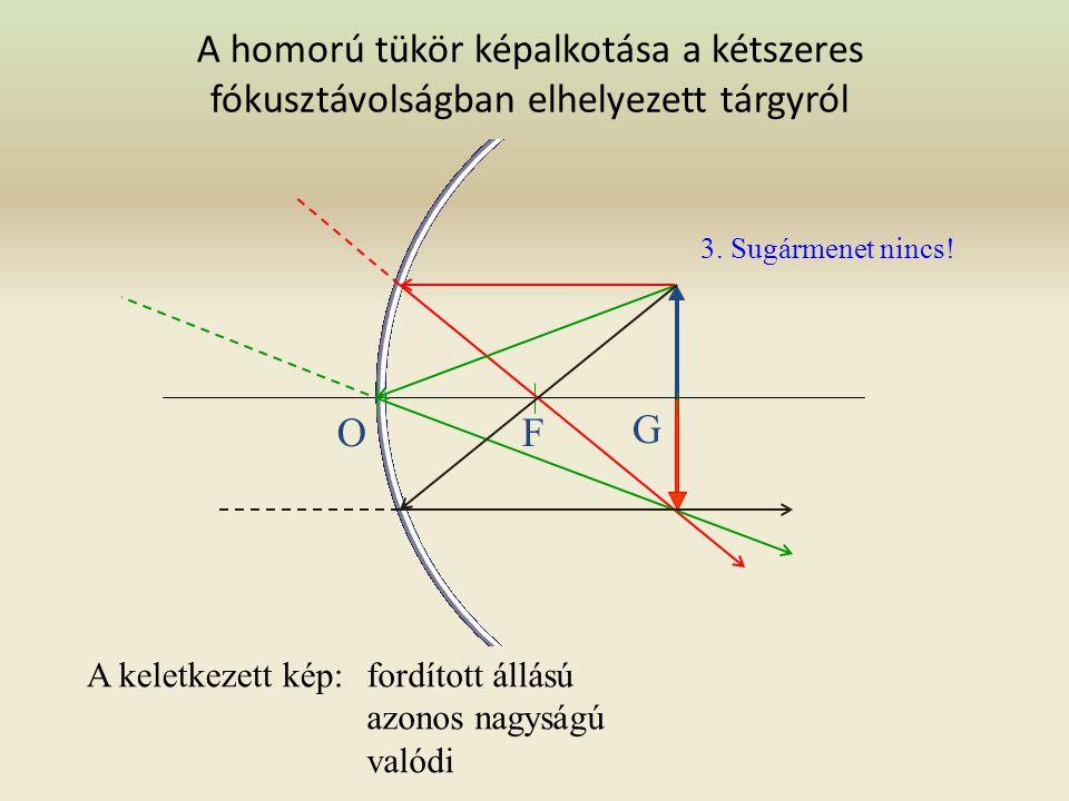 A homorú tükör képalkotása az egyszeres és kétszeres fókusztávolság között levő tárgyról A keletkezett kép: fordított nagyított valódi OFG