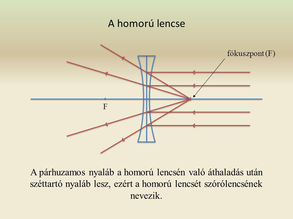 A domború lencse fókuszpont (F) F A párhuzamos nyaláb a domború lencsén való áthaladás után összetartó nyaláb lesz, ezért nevezik a domború lencsét gy