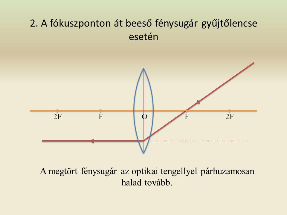 1. Az optikai tengellyel párhuzamosan beeső fénysugár gyűjtőlencse esetén 2FF F O A megtört fénysugár a fókuszponton halad keresztül.