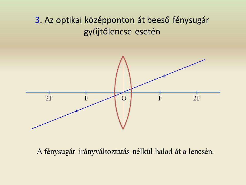 2. A fókuszponton át beeső fénysugár gyűjtőlencse esetén 2FFFO A megtört fénysugár az optikai tengellyel párhuzamosan halad tovább.