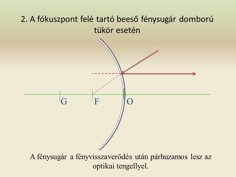 1. Az optikai tengellyel párhuzamosan beeső fénysugár domború tükör esetén GFO A visszavert fénysugár olyan, mintha a fókuszból indult volna ki.