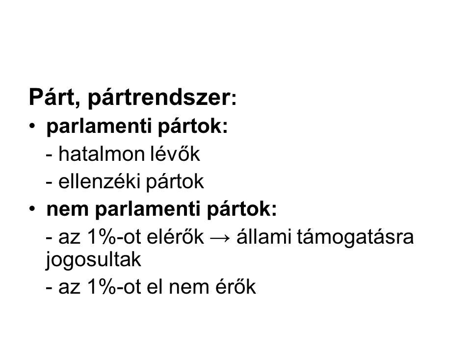 Párt, pártrendszer : parlamenti pártok: - hatalmon lévők - ellenzéki pártok nem parlamenti pártok: - az 1%-ot elérők → állami támogatásra jogosultak -