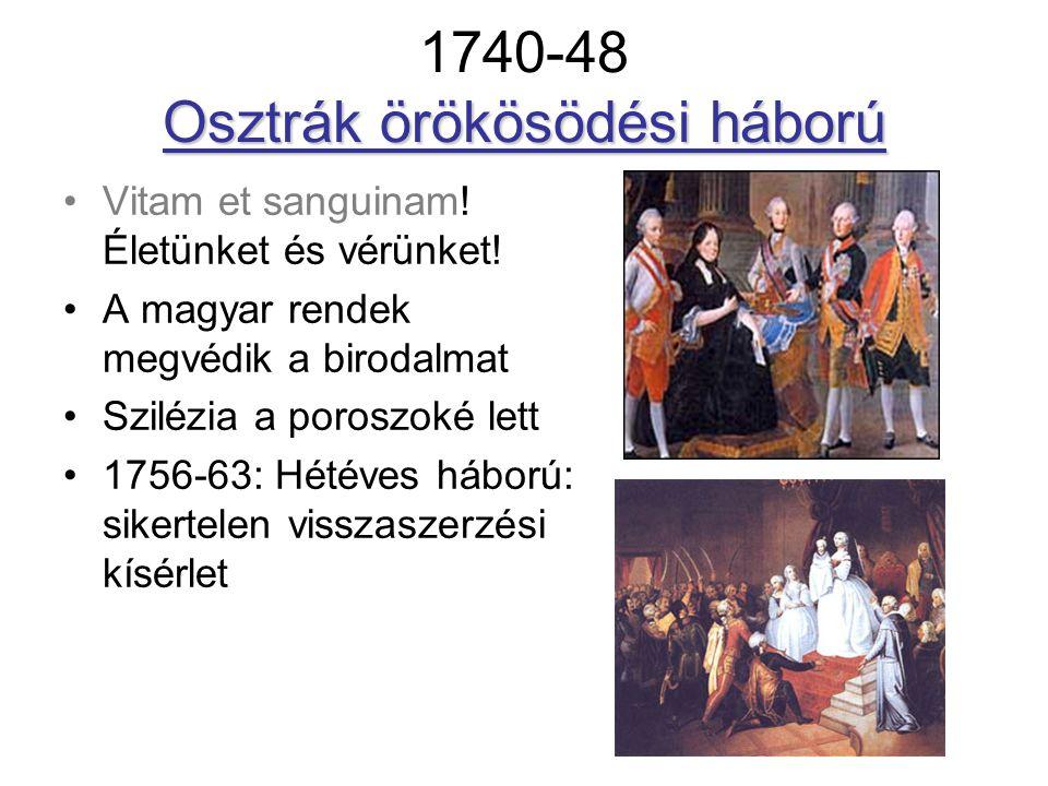 Osztrák örökösödési háború 1740-48 Osztrák örökösödési háború Vitam et sanguinam! Életünket és vérünket! A magyar rendek megvédik a birodalmat Szilézi