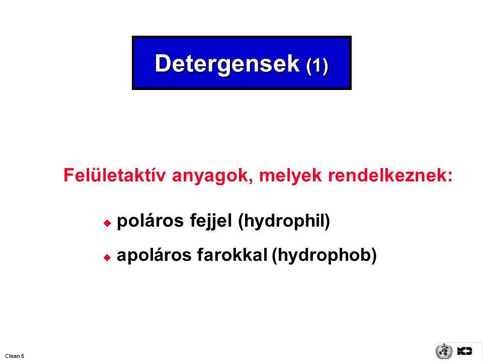 Clean 6 Detergensek (1) Felületaktív anyagok, melyek rendelkeznek:  poláros fejjel ( hydrophil)  apoláros farokkal (hydrophob)