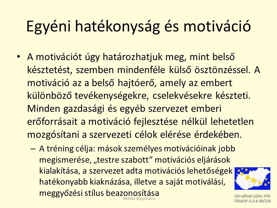 Dél-alföldi SZAK-TÁR Dél-alföldi SZAK-TÁR TÁMOP-5.4.4-09/2/B TÁMOP-5.4.4-09/2/B Egyéni hatékonyság és motiváció A motivációt úgy határozhatjuk meg, mint belső késztetést, szemben mindenféle külső ösztönzéssel.